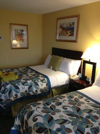 Foto do meu quarto no Wyndham. Duas camas de casal, uma para dormirmos e a outra para empilharmos as compras
