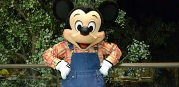 Mickey fazendeiro que aparece no jantar do Garden Grill, no Epcot. Comer bem e sem fila para ver o Mickey