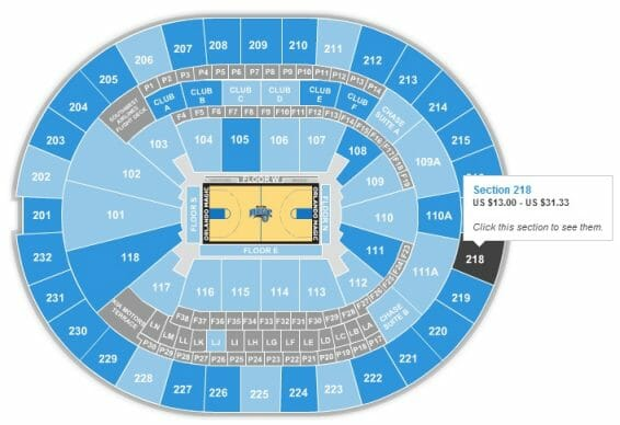 NBA - Todas as sessões do estádio. É só ir passando o mouse para verificar os preços em cada sessão.
