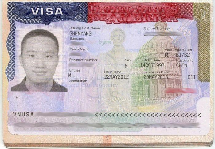 Exemplo de visto de turismo americano. Foto: Shujenchang