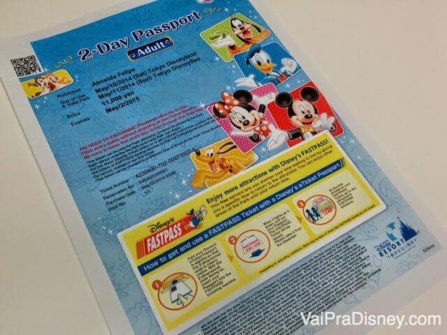 Ingresso que imprimi no site da Disney de Tóquio