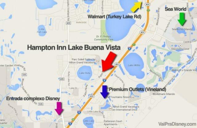 Localização do hotel bom e barato Hampton Inn