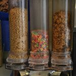 Vários tipos de cereais também s'ao oferecidos como opção no café da manhã do Hampton Inn