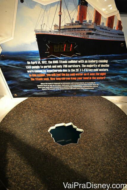 No WonderWorks, experimente a temperatura em que a água do mar estava no momento em que o Titanic afundou