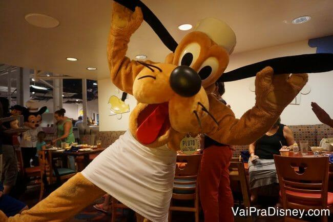O Pluto também aparece por lá, mas ele está com o Mickey em vários outros restaurantes também.