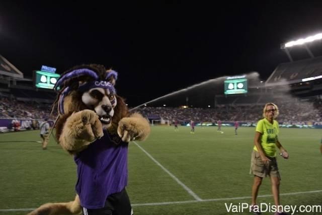 Mascote do time também acompanha o jogo nos Estados Unidos.