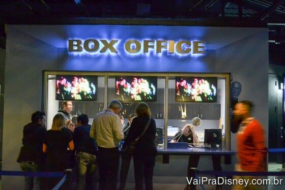 Box office, onde trocamos os vouchers pelos ingressos em menos de 2 minutos