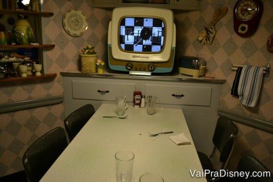 Essa foi a nossa mesa na última visita ao 50's Prime Time Café.