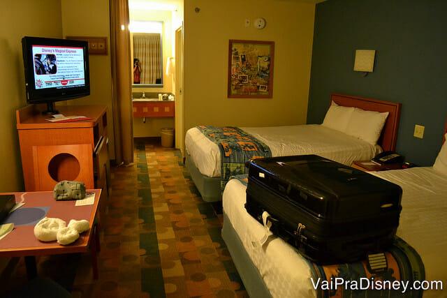 Quarto do Pop Century antes da reforma. Já adorava este hotel quando o quarto era assim.