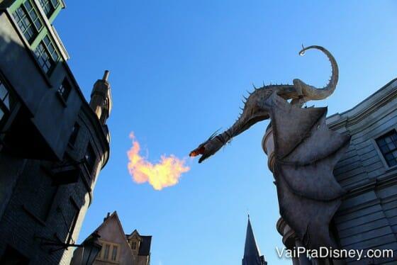 Parques: Não tem quem não pare pra ver quando esse bicho começa a soltar fogo, na área do Harry Potter da Universal.