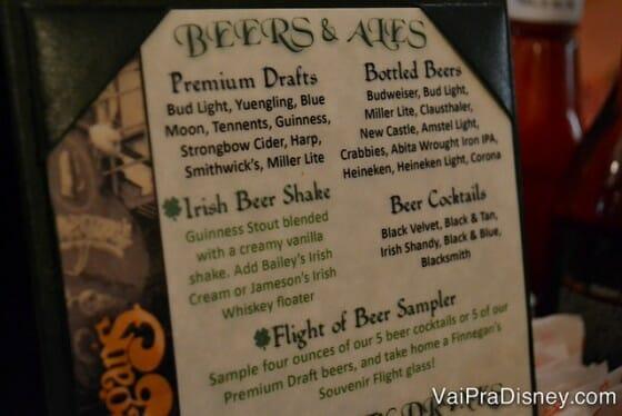 Algumas das cervejas do Finnegan's.