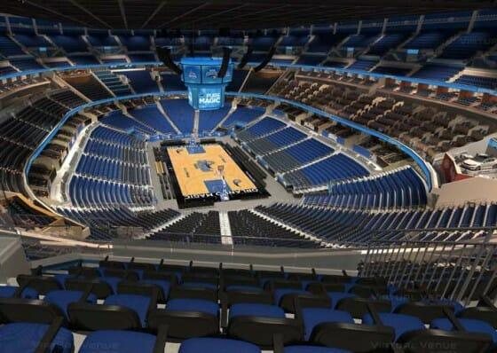 Visão do setor Promenade B do Amway Center - NBA Orlando Magic