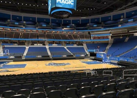 Visão do setor Terrace A do Amway Center - NBA Orlando Magic