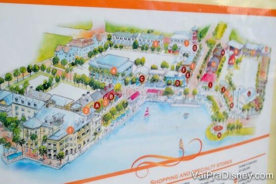 Mapinha perto do lago com todos os principais pontos de Celebration. Bem mais fácil do que aqueles mapas de shopping! hehehe