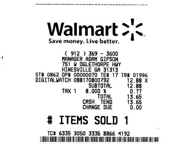 Recibo do Walmart, de compra feita no estado da Georgia. A Sales Tax vem separada no final.