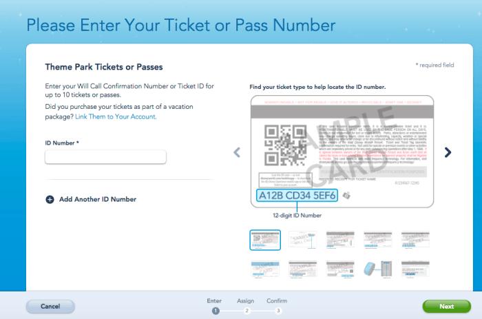 Como vincular o e-ticket no site da Disney