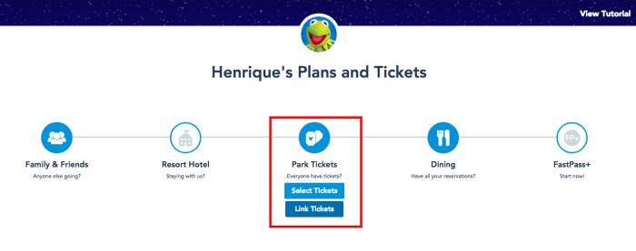 No site em inglês, é só clicar em Link Tickets