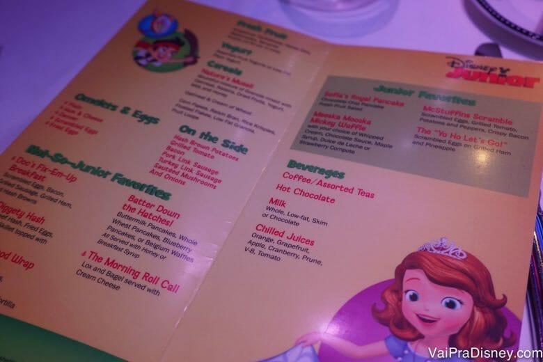 Cardápio do café do Disney Junior.