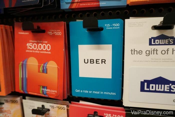 Gift card do Uber, encontrado em vários supermercados de Orlando.
