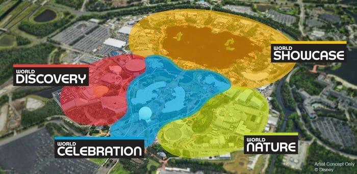 Nova divisão das áreas do Epcot.
