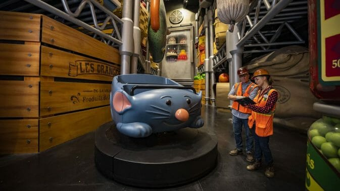 Prévia do carrinho da nova atração de Ratatouille. Foto: Disney
