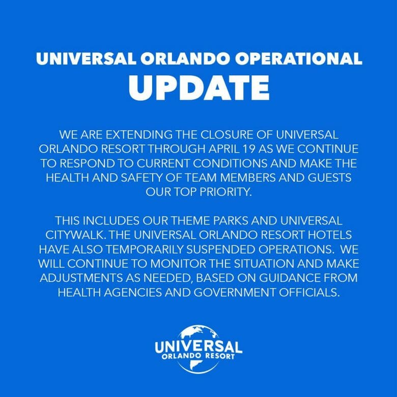 Foto do anúncio feito pelo complexo Universal sobre a prorrogação de seu fechamento até 19 de abril.