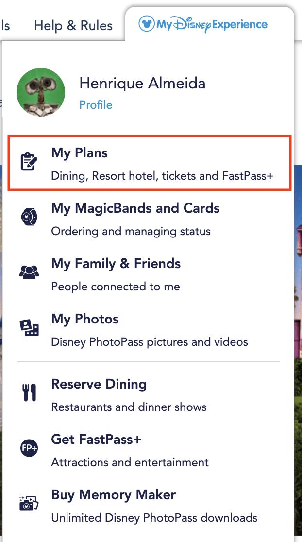 Foto do My Disney Experience mostrando a seção My Plans