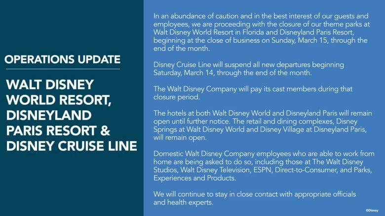 Foto do anúncio de fechamento da Disney, explicando a suspensão de operações em vários complexos do mundo.