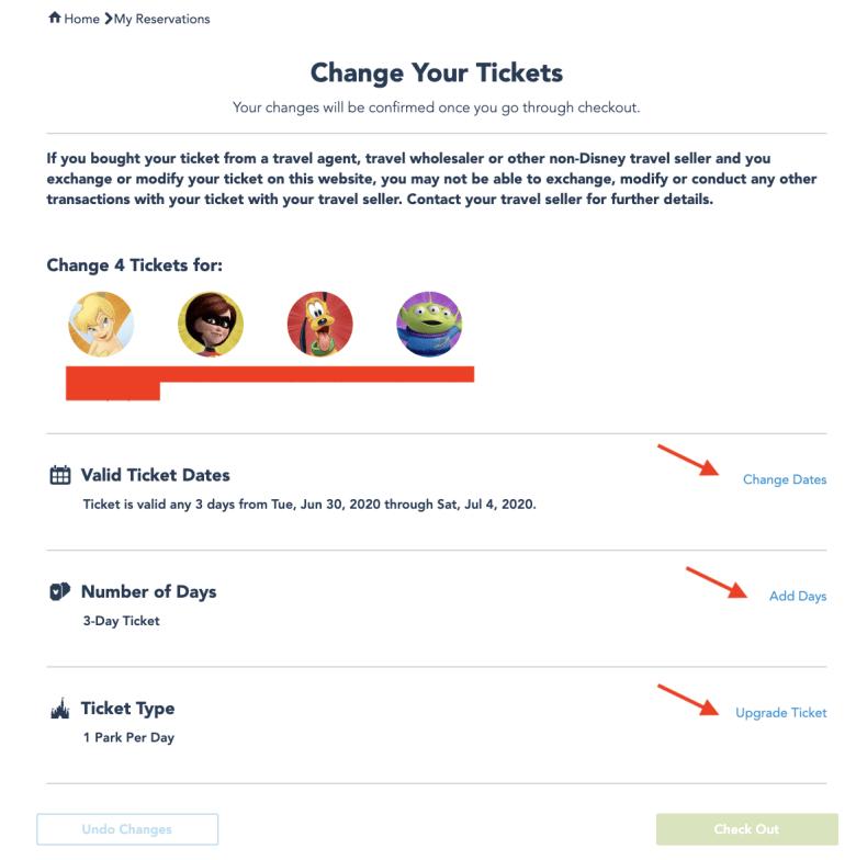 Foto da tela no site da Disney mostrando as opções de alterar data, número de dias ou tipo de ingresso