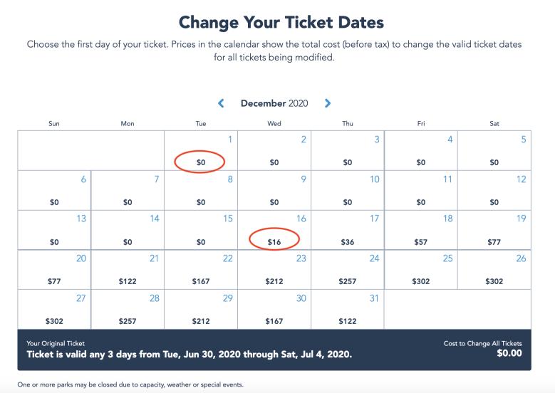 Foto da tela no site da Disney mostrando o calendário para fazer a mudança de data