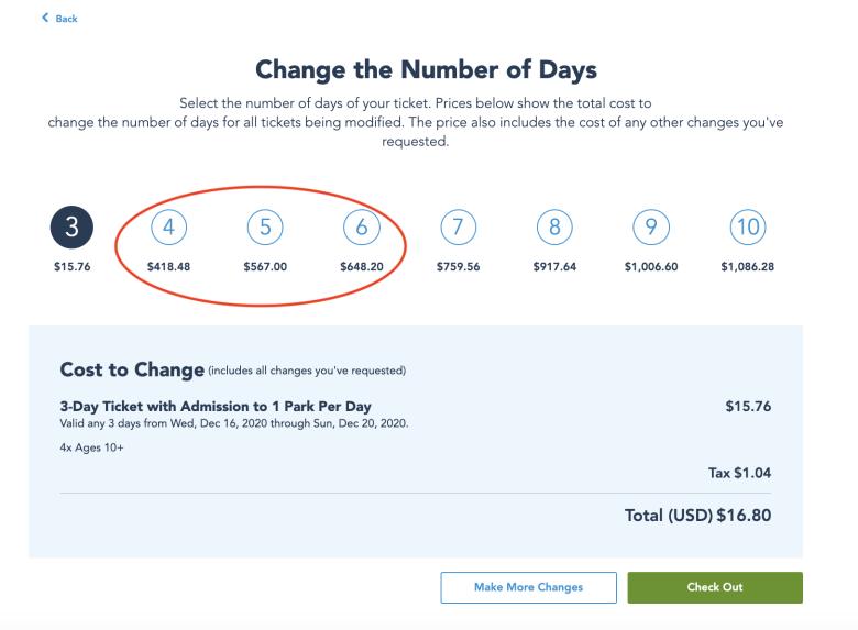 Imagem da tela no site da Disney mostrando as opções de números de dias do ingresso para alterar