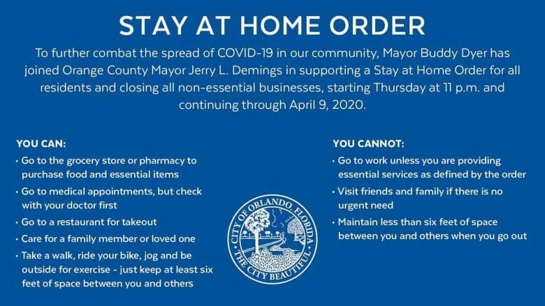"""Foto do anúncio do governo americano orientando as pessoas a ficarem em casa (o título é """"Stay at home order"""") devido à pandemia do COVID-19"""
