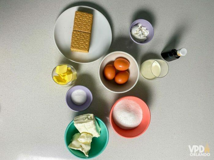 Ingredientes da receita de cheesecake