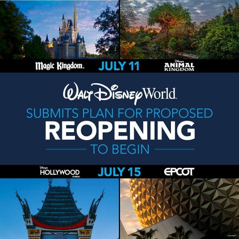 """Foto do anúncio da reabertura da Disney - há uma imagem dos ícones de cada um dos parques e no centro, a frase """"Walt Disney World submits plan for proposed reopening to begin July 15"""""""