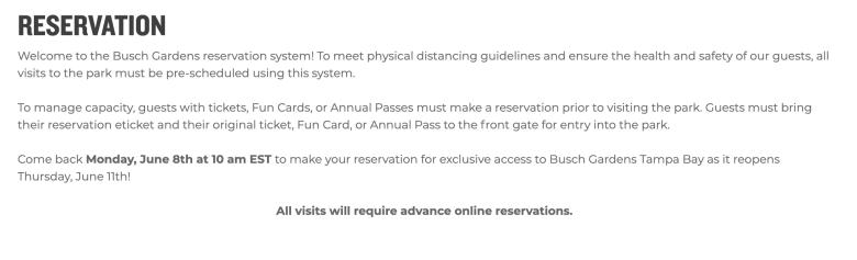 Foto do texto publicado no site dos parques do grupo SeaWorld, explicando que agora é preciso fazer uma reserva para visitá-los.