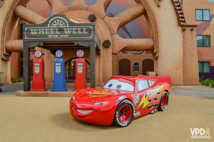 O clima Disney está em todo o ambiente dos hotéis. A área do Carros no Art of Animation por exemplo, te faz se sentir no cenário do filme.